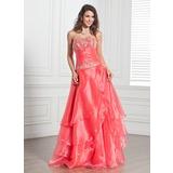 A-Linie/Princess-Linie Trägerlos Bodenlang Organza Quinceañera Kleid (Kleid für die Geburtstagsfeier) mit Bestickt Perlen verziert Pailletten Gestufte Rüschen (021020694)
