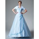 Duchesse-Linie Herzausschnitt Bodenlang Tüll Quinceañera Kleid (Kleid für die Geburtstagsfeier) mit Rüschen Perlen verziert Applikationen Spitze (021004551)