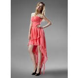 A-Line/Princess Strapless Asymmetrical Chiffon Homecoming Dress With Beading Cascading Ruffles (022004403)