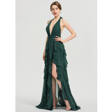 A-Line Halter V-neck Floor-Length Chiffon Prom Dresses With Split Front Cascading Ruffles (018192356)