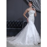 Trumpet/Mermaid Sweetheart Cathedral Train Tulle Wedding Dress With Lace Beading (002000078)