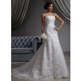 A-Line/Princess Strapless Chapel Train Satin Lace Wedding Dress (002022680)