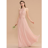 A-Line Halter Floor-Length Chiffon Lace Bridesmaid Dress With Bow(s) (007176763)