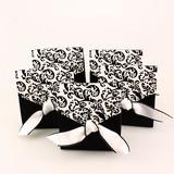 Ivoire et noir motif fleuri Boîtes cadeaux avec Rubans (Lot de 12) (050005921)