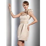 Sheath/Column One-Shoulder Short/Mini Satin Wedding Dress With Beading Cascading Ruffles (002011542)