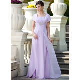 A-Line/Princess Square Neckline Floor-Length Chiffon Mother of the Bride Dress With Ruffle Beading Sequins (008024570)