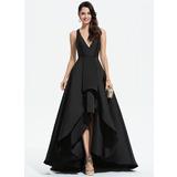 A-Line V-neck Asymmetrical Satin Prom Dresses With Cascading Ruffles (018175929)