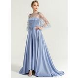 A-Line/Princess Strapless Sweep Train Satin Evening Dress With Flower(s) Sequins (017167701)