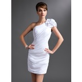 Etui-Linie Eine Schulter Kurz/Mini Chiffon Kleid für die Brautmutter mit Rüschen Blumen (008016385)