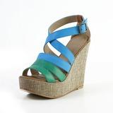 Konstläder Kilklack Sandaler Plattform Peep Toe skor (087033704)