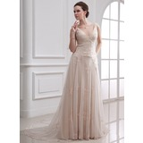 A-Line/Princess V-neck Court Train Tulle Wedding Dress With Beading Appliques Lace (002000313)