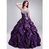 Duchesse-Linie Herzausschnitt Bodenlang Taft Quinceañera Kleid (Kleid für die Geburtstagsfeier) mit Rüschen Perlen verziert Applikationen Spitze (021004652)