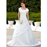 A-linjeformat Square Urringning Court släp Taft Bröllopsklänning med Rufsar Pärlbrodering Rosett/-er (002001626)