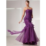 Trumpet/Mermaid Strapless Floor-Length Organza Prom Dress With Cascading Ruffles (018014441)