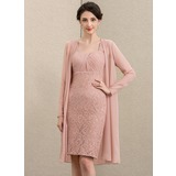 Sheath/Column Sweetheart Knee-Length Chiffon Lace Mother of the Bride Dress (008195378)