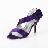 Women's Satin Spool Heel Peep Toe Sandals With Bowknot Velcro (047029878)