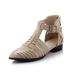 Kunstleder Flascher Absatz Flache Schuhe Geschlossene Zehe mit Schnalle Schuhe (086064828)