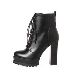 Frauen PU Stämmiger Absatz Absatzschuhe Stiefel Martin Stiefel mit Reißverschluss Zuschnüren Schuhe (088136936)