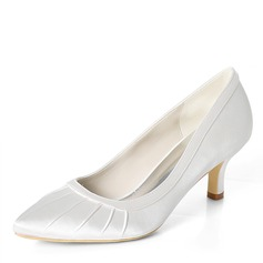 Women's Silk Like Satin Stiletto Heel Pumps With Ruffles (047195478)