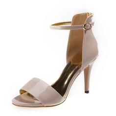 Patenteret Læder Stiletto Hæl sandaler Pumps Kigge Tå med Spænde sko (087059902)