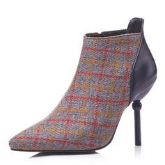 Frauen Kunstleder Stöckel Absatz Absatzschuhe Stiefel Stiefelette mit Zweiteiliger Stoff Schuhe (088172627)