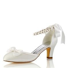 Vrouwen zijde als satijn Stiletto Heel Closed Toe Pumps met strik Kristal (047187718)