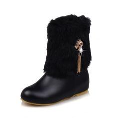 Frauen Kunstleder Flascher Absatz Stiefel mit Reißverschluss Quaste Pelz Schuhe (088109383)