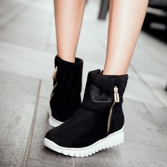 Frauen Wildleder Flascher Absatz Stiefel Schneestiefel mit Reißverschluss Schuhe (088109403)