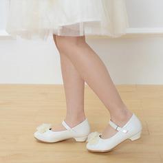 Mädchens Leder niedrige Ferse Round Toe Geschlossene Zehe Absatzschuhe mit Schnalle Satin Schleife (207113591)