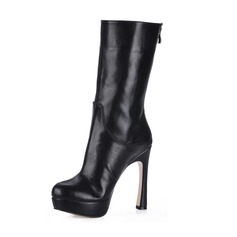 Leatherette Chunky Heel Platform Boots Mid-Calf Boots shoes (088013884)