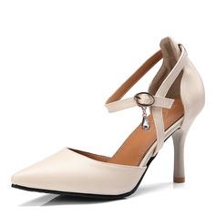 Donna Similpelle Tacco a spillo Sandalo Stiletto Punta chiusa con Fibbia scarpe (085168417)