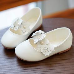Mädchens Geschlossene Zehe Microfaser-Leder Flache Ferse Flache Schuhe Blumenmädchen Schuhe mit Blume (207095477)