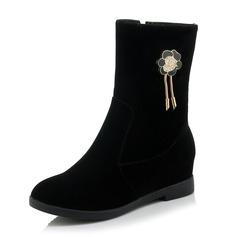 Frauen Wildleder Keil Absatz Stiefel Stiefel-Wadenlang mit Strass Schuhe (088093599)