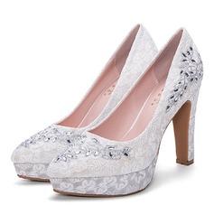 Donna Mesh Tacco a spillo Stiletto Piattaforma Punta chiusa con Strass scarpe (085172791)