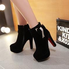 Frauen Veloursleder Stämmiger Absatz Absatzschuhe Plateauschuh Stiefel mit Bowknot Reißverschluss Schuhe (088137546)
