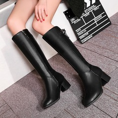Frauen PU Stämmiger Absatz Absatzschuhe Stiefel Kniehocher Stiefel mit Schnalle Reißverschluss Schuhe (088137530)