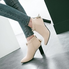 Frauen Veloursleder Stämmiger Absatz Absatzschuhe Stiefel mit Bowknot Reißverschluss Quaste Schuhe (088137511)