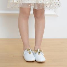 Mädchens Geschlossene Zehe Microfaser-Leder Flache Ferse Flache Schuhe Blumenmädchen Schuhe mit Pailletten Klettverschluss (207121993)