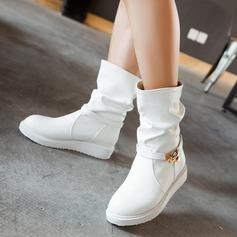 Frauen Kunstleder Flascher Absatz Flache Schuhe Stiefel mit Schnalle Schuhe (088107263)