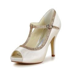 Vrouwen Satijn Stiletto Heel Peep-toe Pumps met Gesp Sprankelende Glitter (047048532)