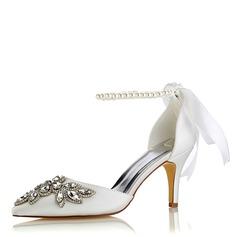 Femmes Soie comme du satin Talon stiletto Escarpins avec Cristal Pearl (047187722)