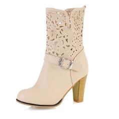 Similpelle Tacco spesso Stiletto Punta chiusa Stivali alla caviglia con Fibbia scarpe (088055906)