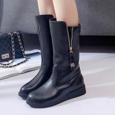 Frauen PU Keil Absatz Stiefel Stiefel-Wadenlang mit Reißverschluss Schuhe (088137102)