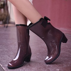 Frauen PVC Stämmiger Absatz Stiefel Stiefel-Wadenlang Regenstiefel mit Bowknot Schuhe (088127034)