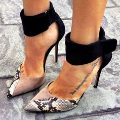 Frauen Veloursleder Stöckel Absatz Sandalen Absatzschuhe Geschlossene Zehe mit Tierdruckmuster Reißverschluss Schuhe (085134729)