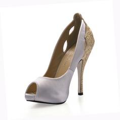 Kvinnor siden som satin Stilettklack Peep Toe Sandaler med Stitching Lace (047017007)