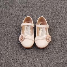 Ragazze Punta chiusa Pelle microfibra Heel piatto Ballerine Scarpe Flower Girl con Perla imitazione Fiocco in raso Velcro (207153556)