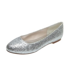 Frauen Funkelnde Glitzer Flascher Absatz Geschlossene Zehe Flache Schuhe (047053921)