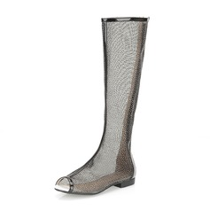 Kunstleder Flascher Absatz Peep Toe Kniehocher Stiefel Schuhe (088062147)