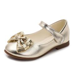 Mädchens Geschlossene Zehe Microfaser-Leder Flache Ferse Flache Schuhe Blumenmädchen Schuhe mit Bowknot Pailletten Klettverschluss (207123119)